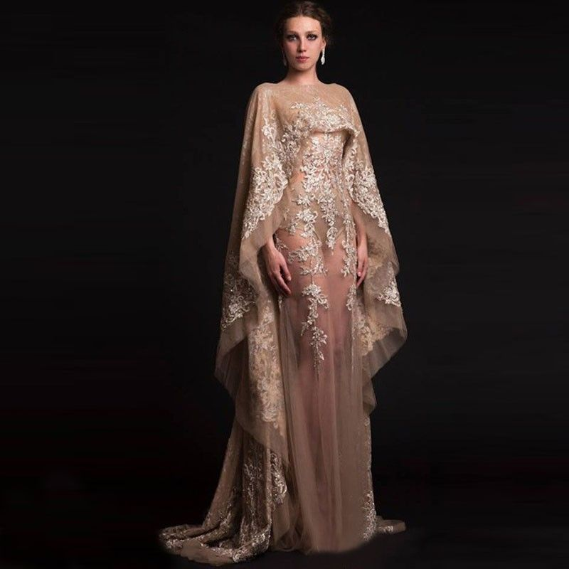 6d35996dfb Unique Arabic Kaftan Abaya Sexy Transparent Champagne Tulle Appliques Evening  Dresses in Dubai with Shawl Robe