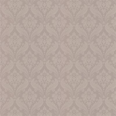 Graham Brown Vintage Flock Damask Taupe Textured Strippable Non Woven Unpasted Wallpaper