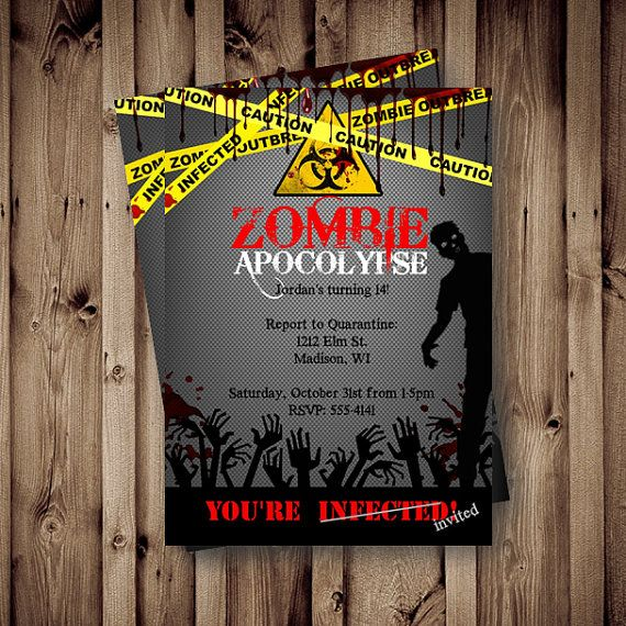 Printable Zombie Invitations For A Teen Zombie Party Zombie party
