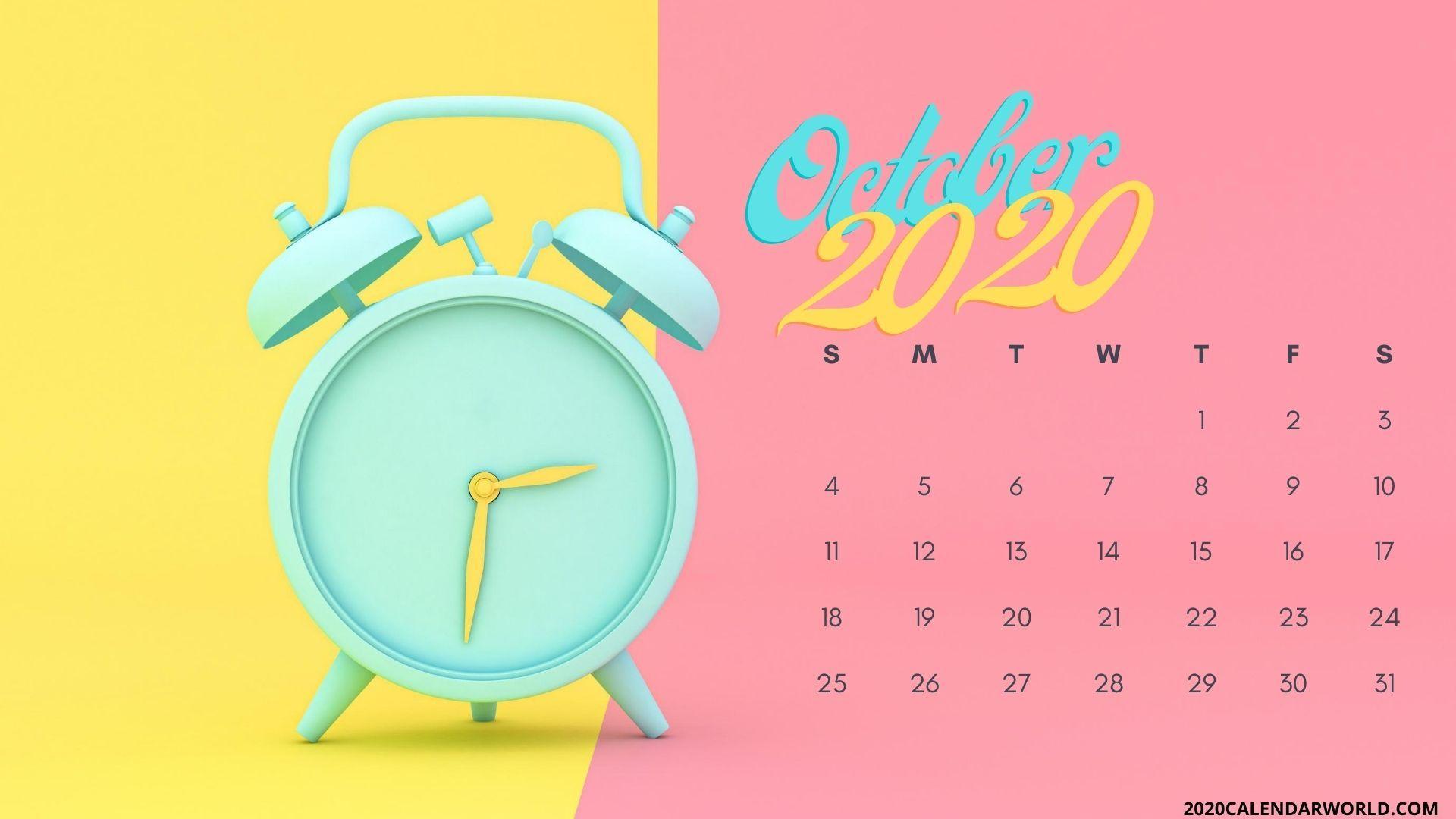 Cute October 2020 Month Calendar Wallpaper For Desktop In 2020 Calendar Wallpaper Desktop Wallpaper Wallpaper