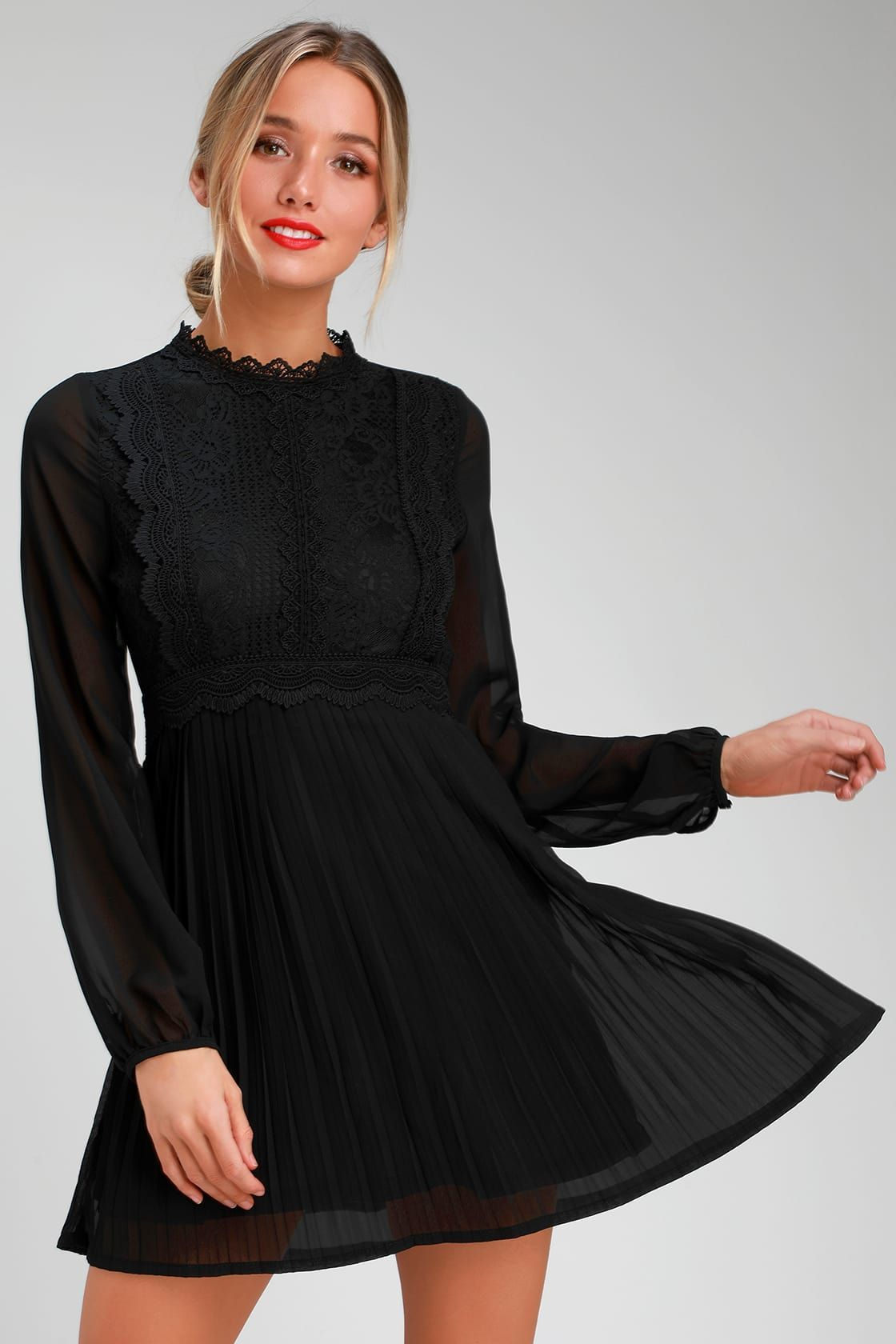 Charlisa black lace long sleeve skater dress with images
