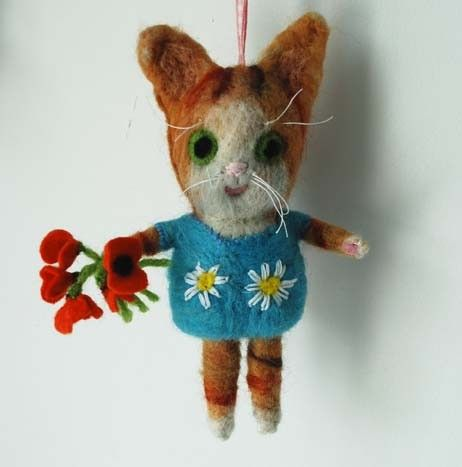 Needle felted Ginger and white kitty reserved for by MissBumbles