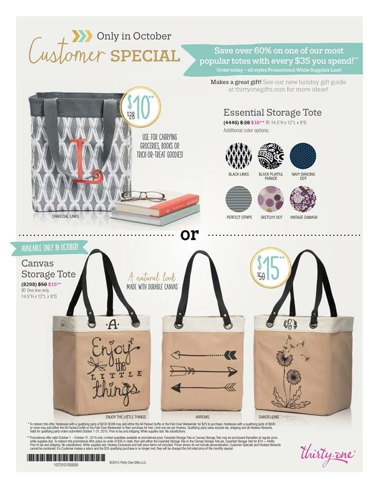 Amazing Thirty One October 2015 Customer Special! These Gorgeous Canvas Essential Storage  Totes Are Available