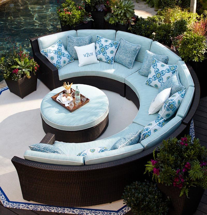 Palermo Curved Modular Seating In Bronze Finish Outdoor Bed