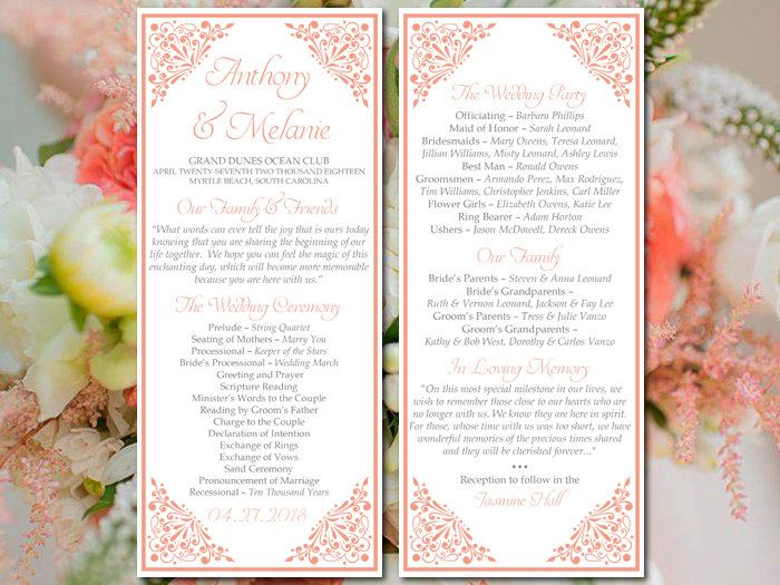 Printable Wedding Program Template Coral Wedding Program Madison