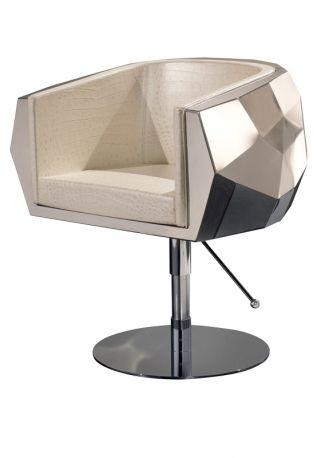 477a8fa39350 Home Collection  Fendi - Poltrona girevole Crystal Icon con scocca in  acciaio e rivestimento in pelle.