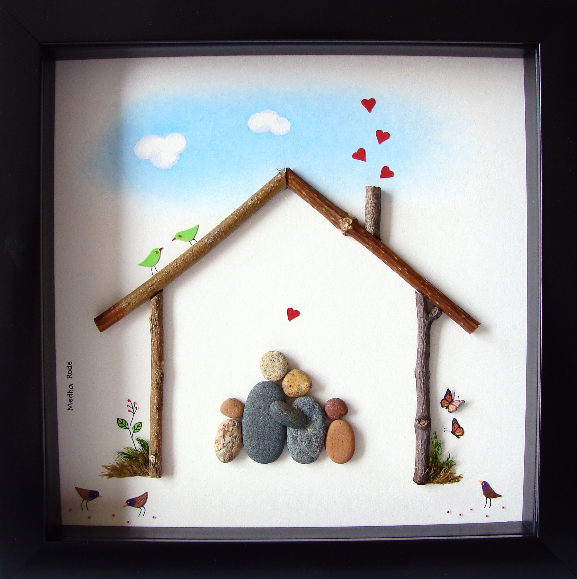 custom family gift unique house warming gift family of four gift pebble family - Unique House Gifts