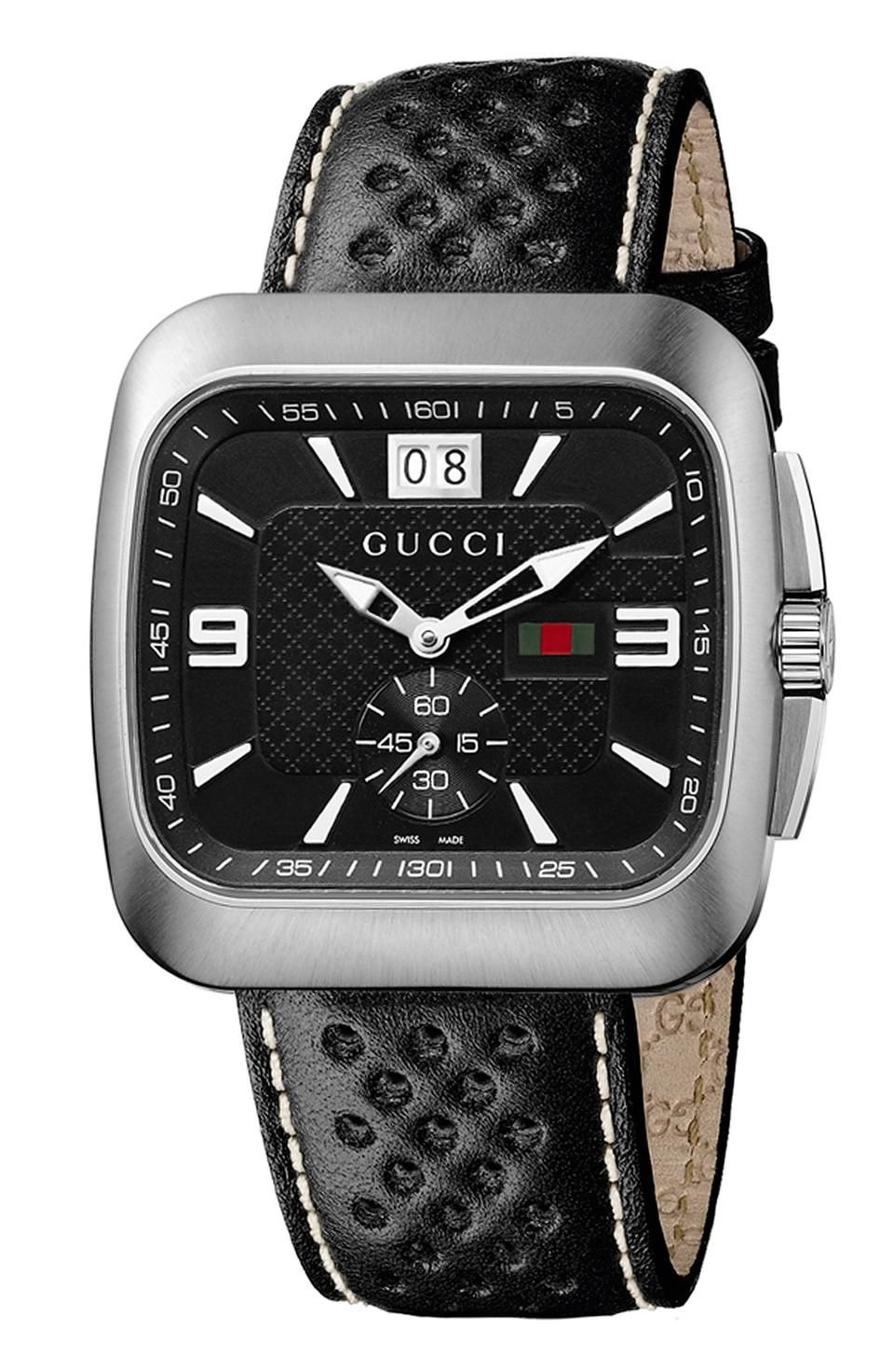 Gucci 'Coupe' Leather Strap Watch