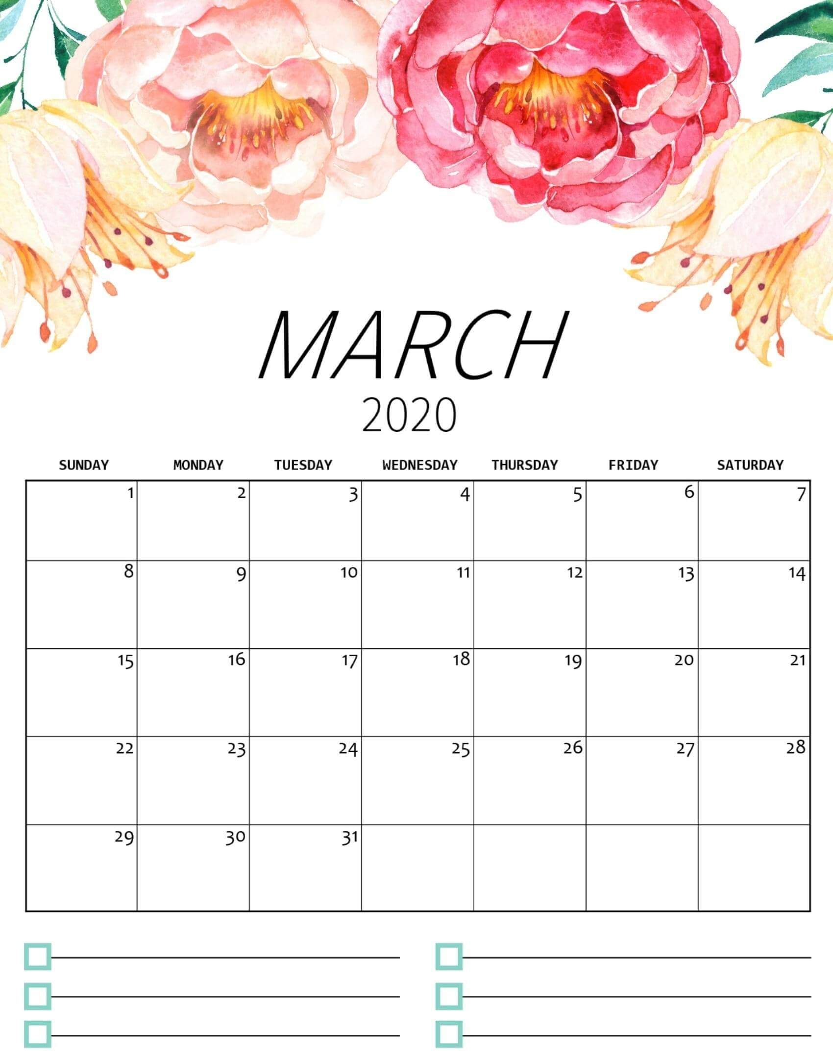 Cute March 2020 Calendar Floral Desk And Wall Wallpaper In 2020