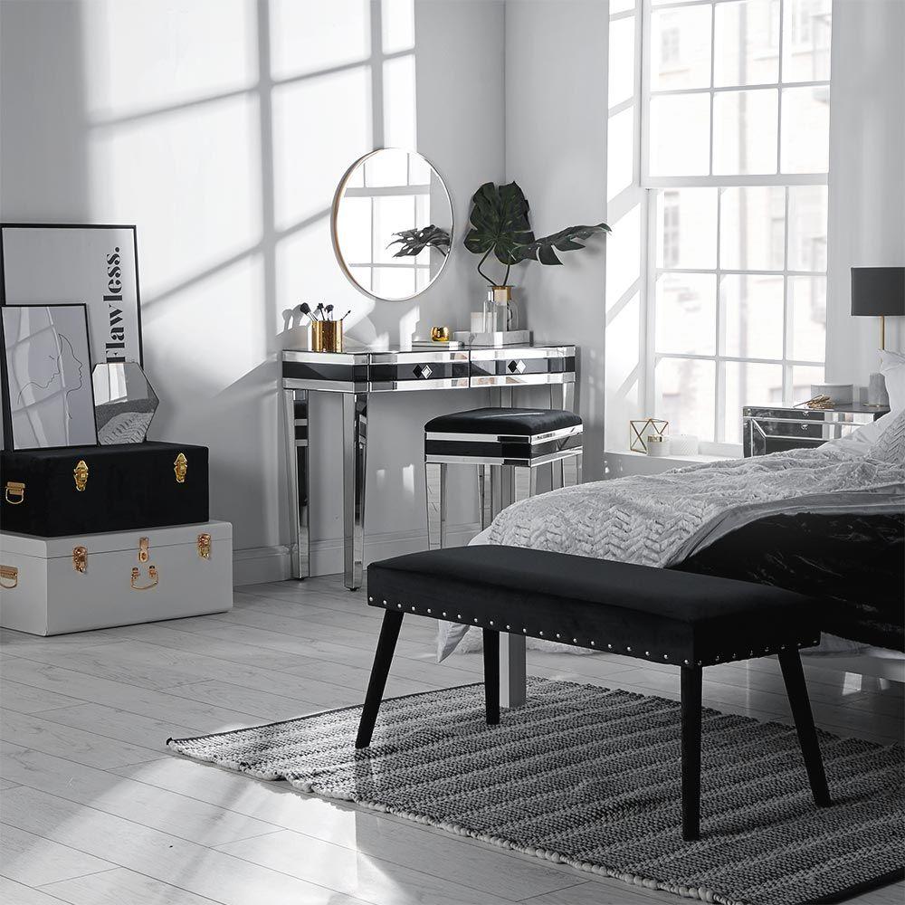 Black Velvet Bench Headboard with shelves, White rooms