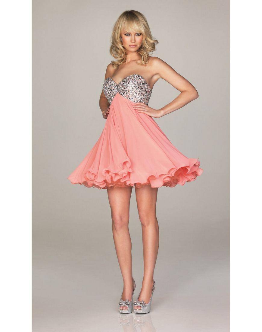 Beading strapless chiffon mini cocktail dress cocktail dress