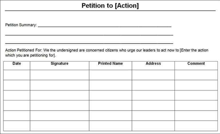 Petition Templates Word Excel Fomats Word Template Words