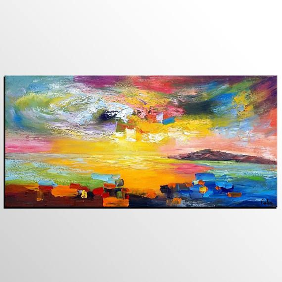 Abstract Landscape Painting, Large Art, Canvas Painting, Canvas Wall ...