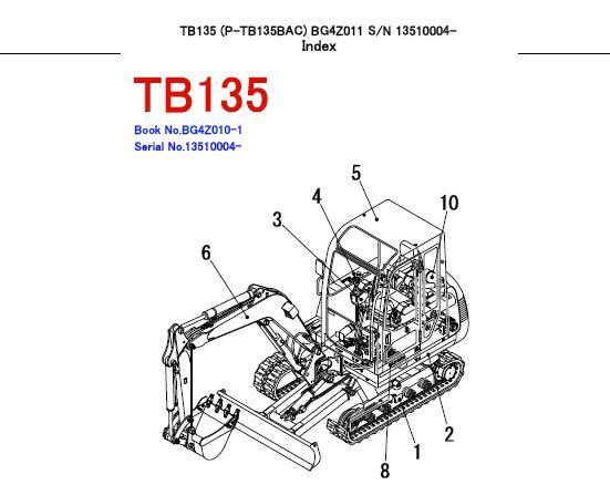 Takeuchi TB135 Compact Excavator Parts Manual (SN