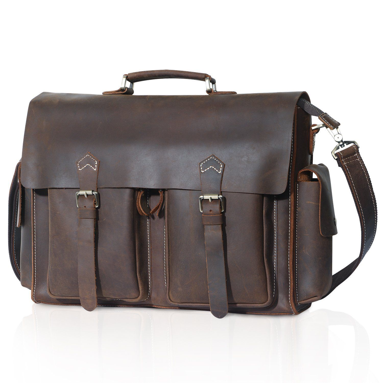 85165b369000 Lifewit Men Vintage Leather Laptop Bag 15.6