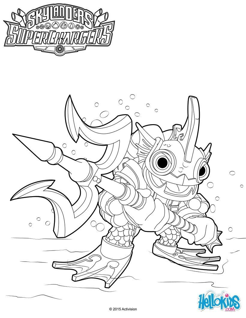 Gill Grunt coloring page from Skylanders SuperChargers video game ...