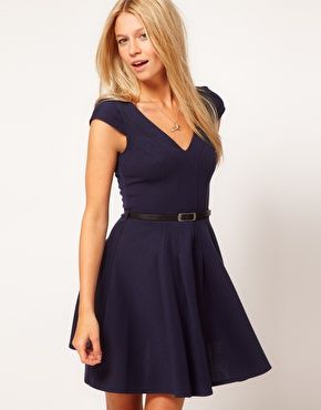 ASOS Full Skater Dress With Belt
