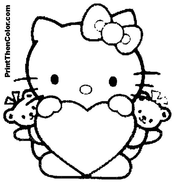 children coloringbookhellokitty | holding a heart with two little ...