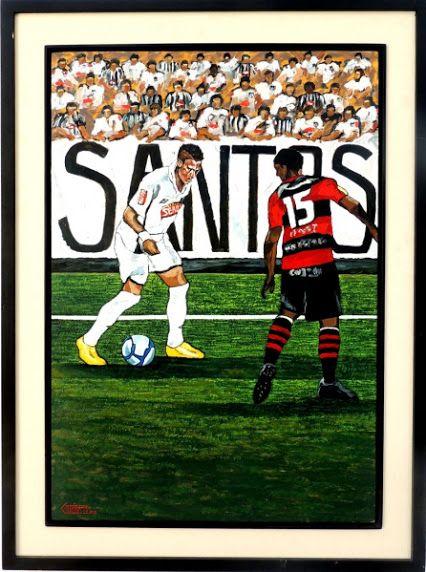 GUERATTI, Neymar, Santos Campeão da copa do Brasil 2010 - Óleo sobre placa - 91x61cm - ACIE e VERSO