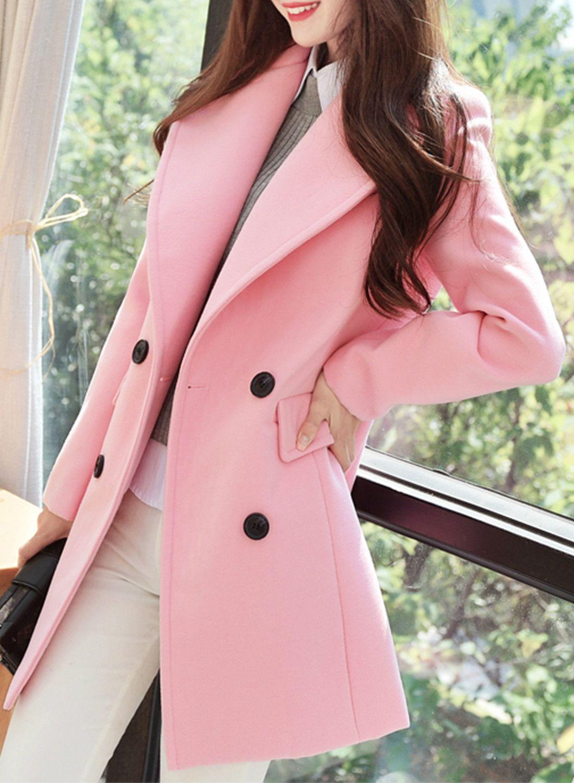 Women\'s Long Sleeve Double Breasted Solid Coat - NOVASHE.com ...