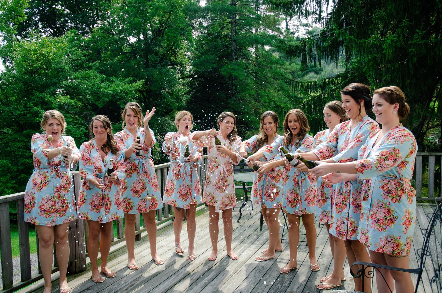 Fun Champagne Toast With Bridal Party