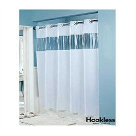 Hookless White Vision Vinyl Shower Curtain With Clear Window