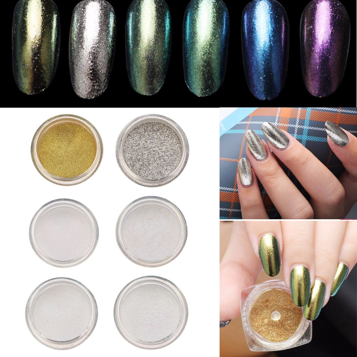 6 ColOes Brillantes Metálicos Nail Art Powder Brillo Shimmer Sequins ...