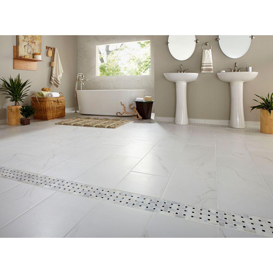 7 Pack Calacatta White Glazed Porcelain Floor Tile Common 12 In