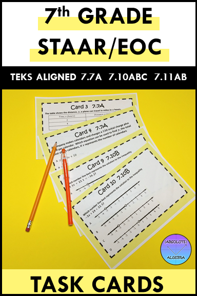 7th Grade STAAR EOC TEKS Aligned Task Cards 7.7 A, 7.10 A ...