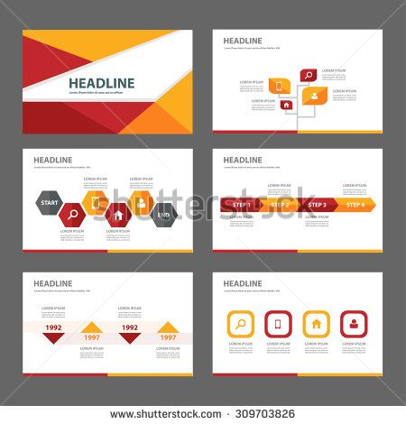 red and orange multipurpose infographic presentation template flat