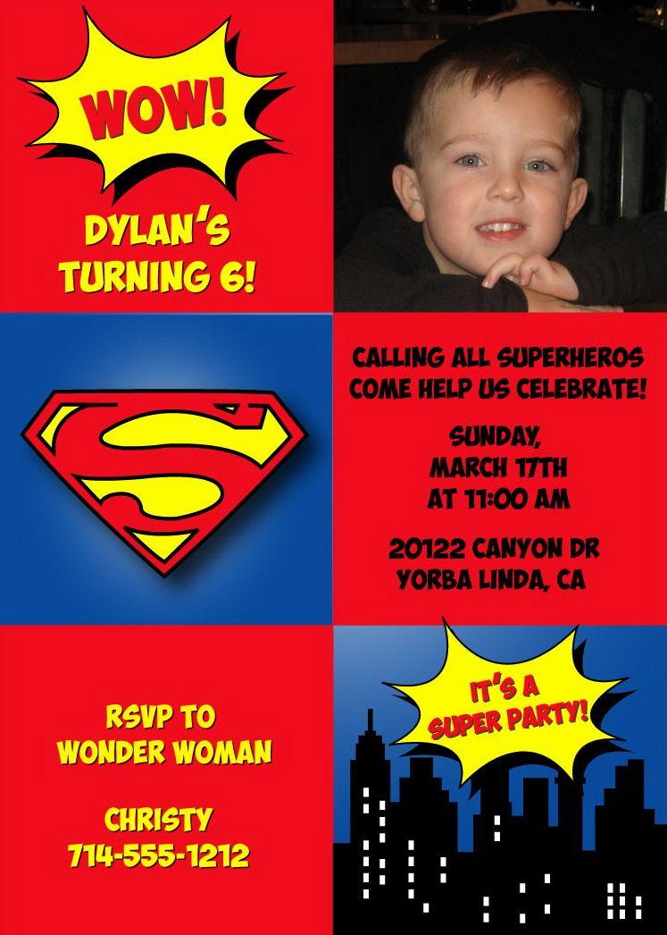 Superman Birthday Party Invitations | Superman birthday party ...