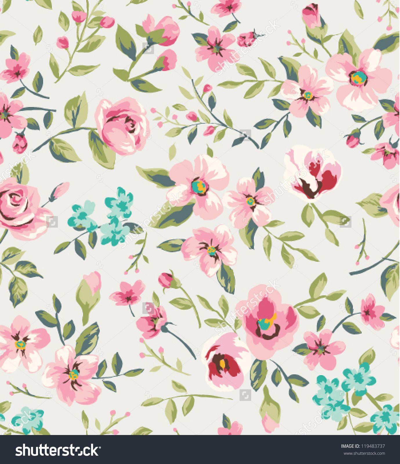 Seamless Vintage Flower Garden Pattern Background