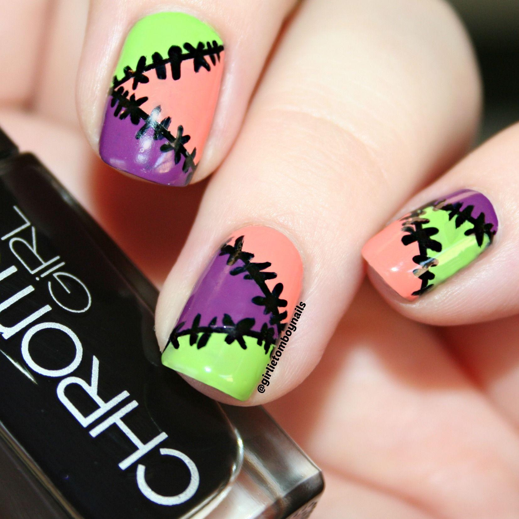 Frankenstitch Stitched Halloween Nail Art using Chrome ...
