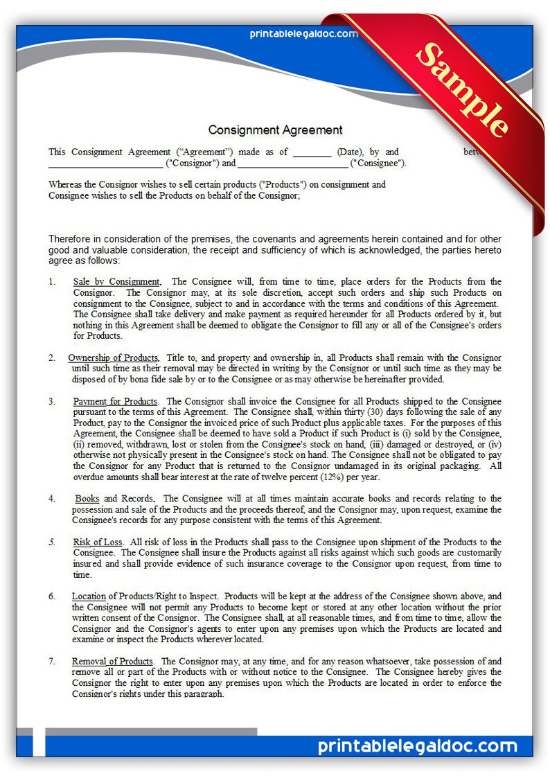 Free Printable Consignment Agreement | Sample Printable Legal Forms  Free Consignment Agreement