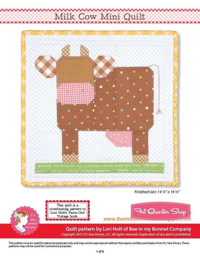 Milk Cow Downloadable PDF Mini Quilt Pattern<BR>Bee in my Bonnet ... : pdf quilt patterns - Adamdwight.com