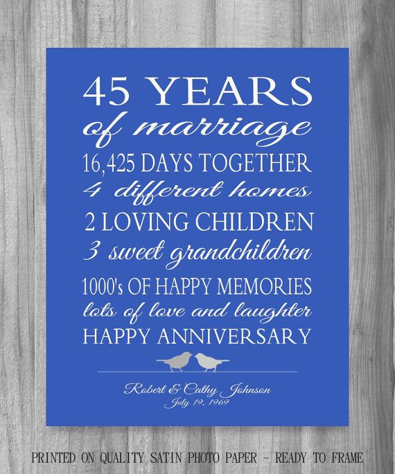 45 Wedding Anniversary Gift For Parents: Personalized Wedding Anniversary Gift. The Perfect 45th