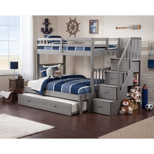 Cascade Staircase Brushed Grey Twinoverfull Bunk Bed with Trundle