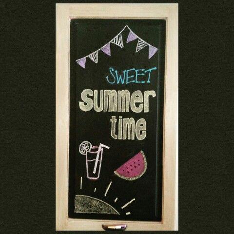 Summer chalkboard art | DIY | Summer chalkboard art ...