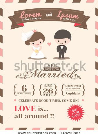 wedding invitation card template with cute groom and bride cartoon,