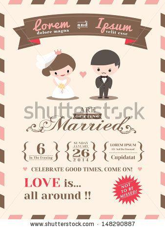 Wedding invitation card template with cute groom and bride cartoon wedding invitation card template with cute groom and bride cartoon by kraphix via shutterstock stopboris Gallery