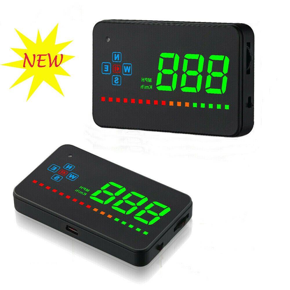 Car Digital GPS Speedometer Head Up Display Overspeed MPH//KM Tired Warning Alarm