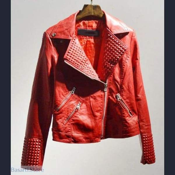 be0d5695ff5f7 Faux Leather Jacket with Rivets in 2019 | Leather | Faux leather ...