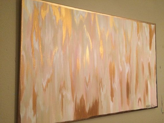 24x36 Pink Cream Gold Abstract Abstract Art Painting Abstract