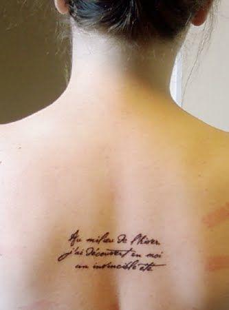 """Au milieu de l'hiver, j'ai découvert en moi un invincible été.""  - Albert Camus (in the depths of winter, I discovered there was in me an invincible summer) #tattoos #literarytattoos"
