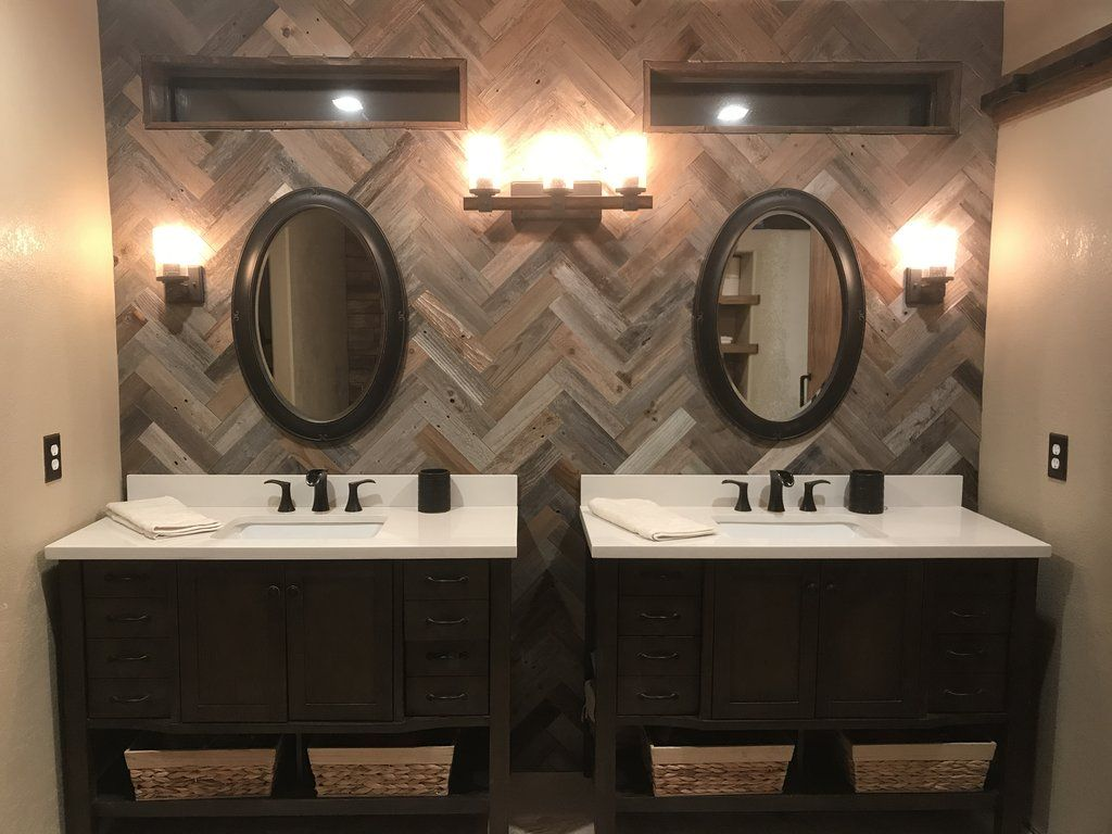 Herringbone Wood Planks For Walls Made From Reclaimed Barn Wood Herringbone Wood Plank Pattern Bathroom Wall Wood Wall Bathroom Wooden Bathroom Wood Bathroom