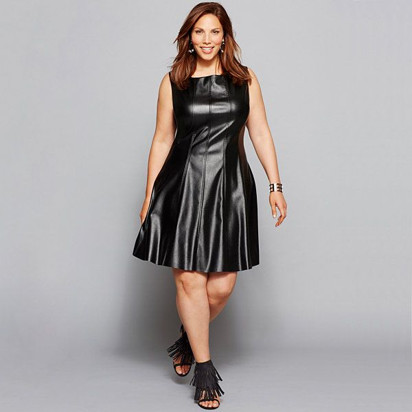3e0ad0f3c13 Katherine H® Sleeveless Seamed Faux-Leather Fit-and-Flare Dress - Plus -  JCPenney