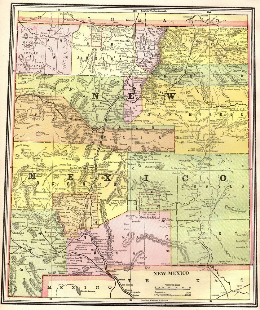 1891 Antique NEW MEXICO Map Gallery Wall Art Map of New Mexico State ...
