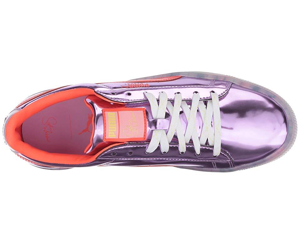 PUMA PUMA x Sophia Webster Basket Candy Princess Sneaker Women s Lace up  casual Shoes Metallic Pink Fiery Coral 0ffa609f3
