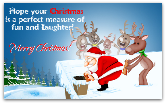 Cartoon image. Santa measures chimney and Reindeer measures Santa's waist