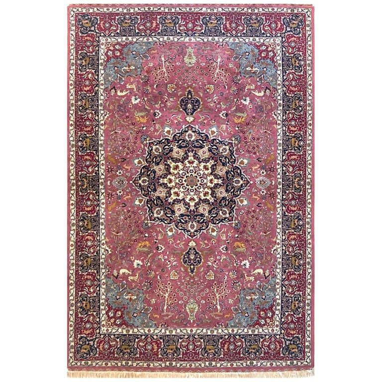 Persian Hand Knotted Floral Medallion Animal Motif Tabriz Rug 60